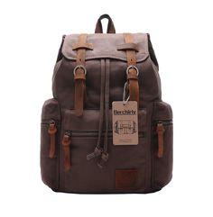 Amazon.com : Berchirly Vintage Men Casual Canvas Leather Backpack Rucksack Bookbag Satchel Hiking Bag : Sports & Outdoors