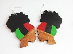 Afro Puff Earrings RBG Jewelry Wooden Earrings Afro Earrings Natural Hair Wood Earrings Red Black Green Afrocentric Earring African American by TheBlackerTheBerry