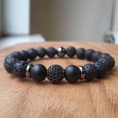 Mens 8MM Lava Rock Gunmetal Disco Zircon Ball Bracelet Gemstone Beaded Bracelet http://www.allthingsvogue.com