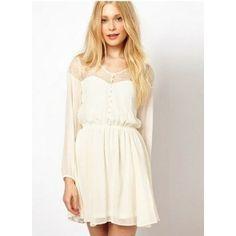 Cordón de la pestaña hueca Nueva moda de manga larga vestido de gasa del color sólido blanco