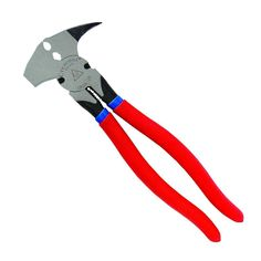 Crescent heavy-duty fence pliers is the only tool needed for work on metal or wood posts. This tool has starting and pulling joints on 1 jaw with a corrugated hammer on the other. The heavy-duty lock-joint Fencing Tools, Wood Post, Forged Steel, Tool Steel, Hand Tools, Garden Tools, Fence, Cushions, Construction