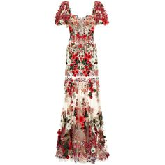 Dolce & Gabbana Embroidered Tulle Gown (62.319.765 CLP) ❤ liked on Polyvore featuring dresses, gowns, floral embroidered gown, floral evening gown, floral applique gown, floral gown and floral ball gown