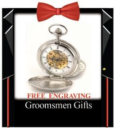 Personalized Silver Double Dust Cover Pocket Watch Groomsmen Gifts Best Man Usher Father of the Bride & Groom