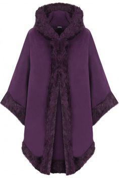 Vicki Fur Hooded Cape | Womens Coats
