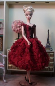 """Claret Red Petal Dress"" for Silkstone Barbie is Trimmed in Glistening Jet Beads and is Holiday Perfect; by Bellissima Couture"
