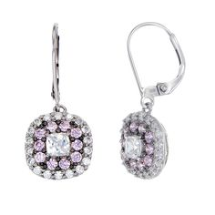 Sparkling Hypnotic White and Pink CZ Earrings