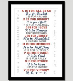 Baseball ABC Print for Nursery or Playroom  by CoCoStineDesigns, $20.00