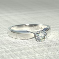 #DeVindt Vanessa diamond engagement ring from the classic collection, simple, classical and timeless. Shown with a flawless D colour white created diamond.