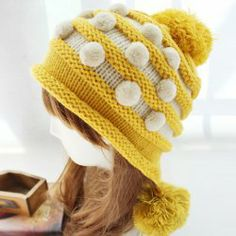 $5.20 Fuzzy Ball Embellished Colored Striped Knit Beanie Hat For Women