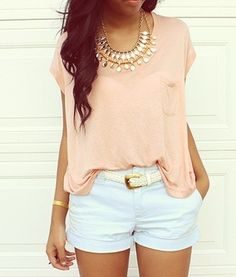 cute golden necklace and belt with a light peach top and light blue shorty-shorts, perfect for summer (;