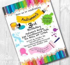 Paint Party Invitations Printable Custom by CutiePuttiPaperie