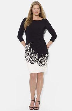 Lauren Ralph Lauren Floral Print Boatneck Dress (Plus Size) available at #Nordstrom
