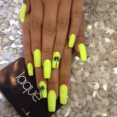 Neon Yellow Palm Tree Nails