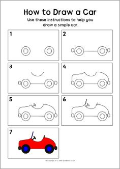 How to draw a car instruction sheet (SB8224) - SparkleBox