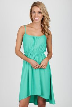 high low green cotton dress