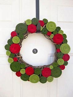 12inch Christmas Felt Rosette Wreath by handmadecolectibles, $50.00