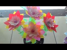 DIY craft - how to make flowers from plastic Beaded Flowers, Diy Flowers, Diy Crafts How To Make, Bottle Crafts, Flower Making, Plastic Bottles, Diy Projects, Project Ideas, Videos