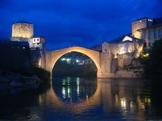 stari most (the name of the famous bridge) in Mostar, Bosnia Herzegonia. Train route goes From Ploce to Sarajevo stopping at Capljina, Mostar, Jblanica and Konjic en route to Sarajevo and vice versa.