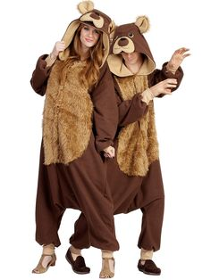 Adult Bailey Bear Hooded Animal Jumpsuit Costume | Cheap Animal Costumes for Men