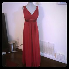David's Bridal red long gown Bridesmaid dress, worn once, great quality, zip up No damage, no stains David's Bridal Dresses