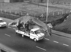 Because even dinosaurs on exhibit have to travel to their destination somehow, right?