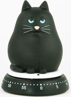 "Cat kitchen timer - that look of superiority is just priceless! ""Do I look as if I care if your cookies are crispy?"""
