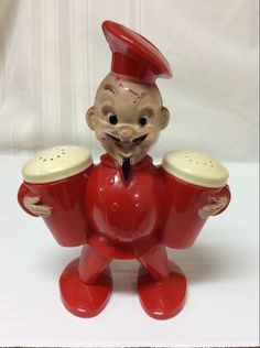 A personal favorite from my Etsy shop https://www.etsy.com/listing/212835079/vintage-red-jolly-chef-salt-pepper-set