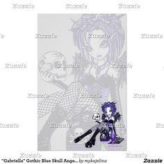 Artigos de papelaria azuis góticos da arte do anjo