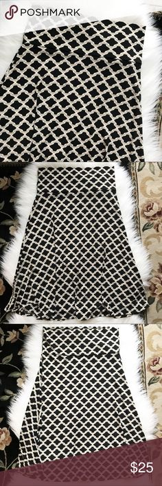 LuLaRoe Azure Black Pattern Skirt Size S Azure Skirt from LuLaRoe size S.  Black, white and cream pattern.  Gorgeous flowing skirt in EUC. Only worn a couple of times.  95% Polyester 5% Spandex. LuLaRoe Skirts