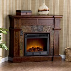 Interior. Dark Brown Stained Oak Wood Fireplace That Was Made ...