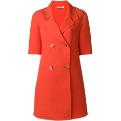 Jil Sander short sleeve double breasted coat (6.980 BRL) ❤ liked on Polyvore featuring outerwear, coats, red, jil sander, jil sander coat, double breasted coat, red double breasted coat and red coat