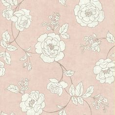 Brewster Home Fashions Serene Rose Wallpaper in White / Silver / Ballet Pink