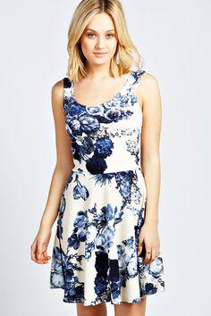 Jess Floral Skater Dress at boohoo.com