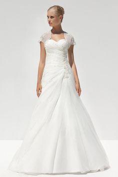 $387.98 Sweetheart Pleated Bodice Dropped Waist Wedding Dress with Match Jacket -Wedding Dresses-DeniseDress