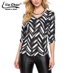 Blouse Women Tops 2016 Half Sleeve Women Shirt Elia Cher Plus Size Casual Women Clothing Lady Print Blouses Blusas 8225