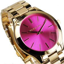 Michael Kors Women's Slim Runway Gold Tone Pink Dial Watch MK3264 New