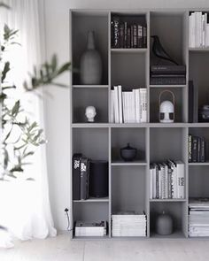 Still very happy with my grey shelfie ikeahack bookcase bokhylle livingroom stue stylizimohouse skandinaviskehjem Apartment Interior, Living Room Interior, Home Living Room, Ikea Eket, Ikea Billy Bookcase, Modular Shelving, Room Shelves, Furniture Restoration, Home And Deco