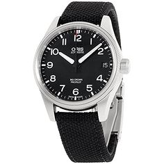 Oris Mens black dial nylon bracelet watch 75176974164TSBLKXG Certified Refurbished >>> Want additional info? Click on the image. Note: It's an affiliate link to Amazon #LuxuryMenWatch