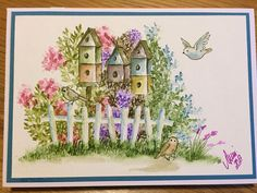 Art Impressions Rubber Stamps: Wonderful Watercolor.  Handmade card with birdhouses, fences, flowers, foliage, birds.