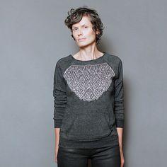 Eco Fashion Charcoal Sweatshirt for Women -  Modern Geometric Lace Screen Print - Womens Pullover