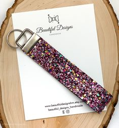 Your place to buy and sell all things handmade Glitter Keys, Cute Lanyards, Diy Leather Projects, Wrist Lanyard, Cute Keychain, Glitter Fabric, Key Fobs, Vroom Vroom, Gifts For Girls