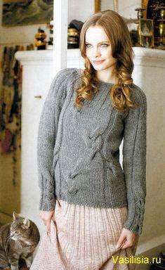 Серый женский пуловер спицами схема и описание