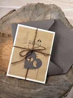 Personalizzato di inserzione (20) rustico uccelli nozze invito, Con foglia punch al posto del cuore