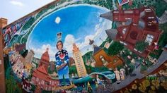 """Mural of Stephen F. Austin, the city's namesake between 20th and 24th on Guadalupe St., also called """"The Drag."""""""