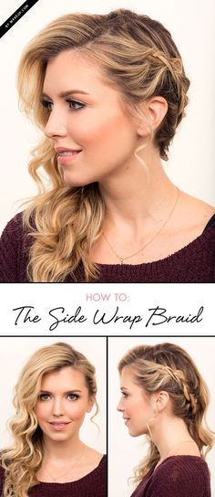 Wedding Hairstyles For Long Hair We LOVE braided hairstyles, long, medium, and short! We love the updos and long intricate fishtails. Check out this side wrap braid tutorial and meet your new favorite hairstyle. Wedding Hair And Makeup, Hair Makeup, Hair Wedding, Hair To The Side Wedding, Wedding Braids, Side Braid Wedding, Hair To One Side, Side Hair Dos, Braids For Prom