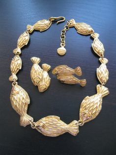 Vintage Lanvin Germany Fish Gold Plated Necklace Earrings Set