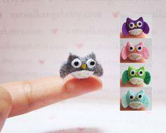 Filz-Miniatur - Miniatur Gefilzte Eule - Gefilzte Eule - grau Gefilzte Miniatur Eule - Eule Miniatur - kleine Eule - Filz grau Eule - kleine Eule