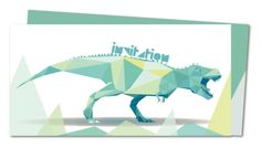 Carte invitation anniversaire Triangles et Dinosaure (FR-502)