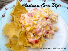 Warm Mexican Corn Dip.... I doubled it and threw it into the crockpot.  Kept it nice and warm during a party.