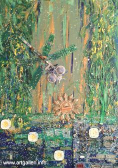 """""""Water Lilies"""" 65 × 90 cm. Materials: acrylic on canvas; electrical recycled material. Iana Olsen Morgunova."""